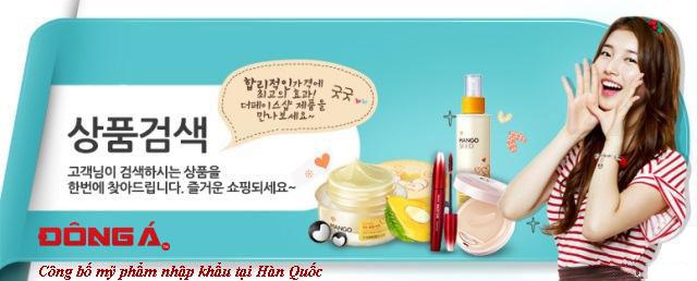 Công bố mỹ phẩm nhập khẩu từ Hàn Quốc
