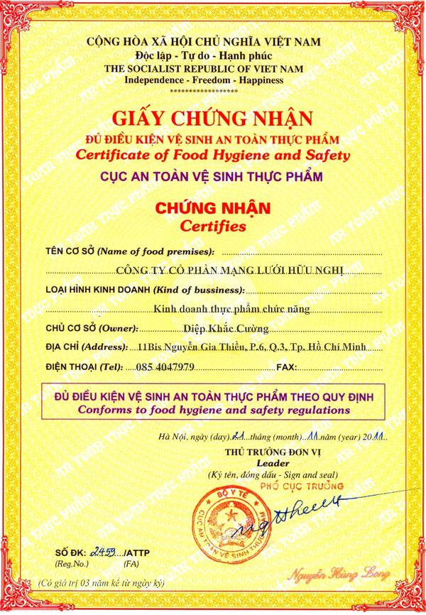 Xin giấy chứng nhận cơ sở đủ điều kiện VSATTP tại Chi cục Nông Lâm